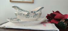 Ancien Saucière U&C Sarreguemines modéle ROYAT décor fleuri camaieu de bleu