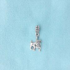 Silver PIT BULL Dog  Dangle Bead Charm Fits Americans/European Charms Bracelets