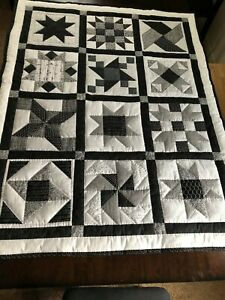 Patchwork Quilt handmade lap size Black White Stars & Pinwheels cotton fabrics
