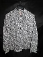 Chico's Size 3 XL Gray Black Snow Leopard Shirt Wrinkle Resistant Cotton Blouse