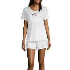 Ambrielle Sleepwear Tee Shorts PJ Set Bridal  Mrs. White Cotton NWT