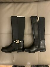 "New Tommy Hilfiger ""Andrea"" Riding Boot Girl Size 8T Black"