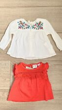 Zara Baby Girl 2-Pack Boho Floral Blouse+Red with Lace Frill Size 3-6 months