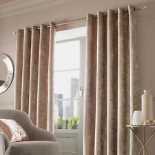 Crush Crushed Velvet Pair of Fully Lined Eyelet Curtains Natural Champagne Gold