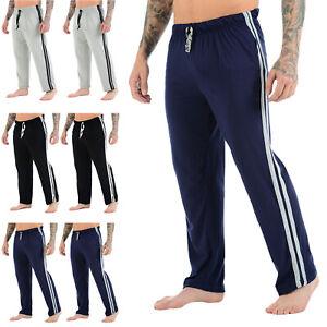 New Mens 2 Pack Lounge Pants Nightwear Comfy Striped Trousers Bottom Pyjamas Jog
