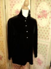 jane davenport black stretch velvet top shirt tunic