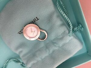 Tiffany & Co 1837 round lock watch pendant charm mother of pearl face Authentic