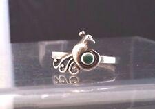 925 Ethnic Sterling & Malachite Ring  Retro Flamingo  Ring ~ Size 9