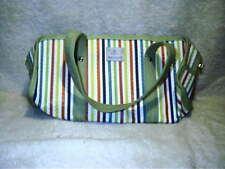 Retired Partylite Green Multi Stripe Candle Tote Bag Purse Handbag Consultant