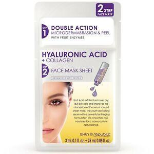 Skin Republic 2-STEP Face Mask - HYALURONIC ACID + COLLAGEN 3ml + 25ml
