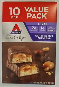 Atkins Endulge Bar Caramel Nut Chew - Value Pack 10 bars BBD 5-22