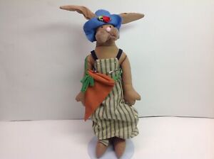 """Rare Vintage Overly Raker 14"""" Walking Rabbit Doll with Outfit & Carrot Sack"""