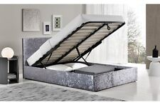 Crushed Velvet Silver Ottoman Storage Bed Single Small Double King Size