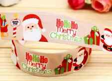 "1M 22mm 7/8"" GOLD SANTA FATHER CHRISTMAS GROSGRAIN RIBBON 99p CAKE XMAS"