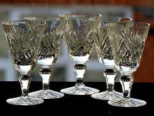 5 ROYAL DOULTON CRYSTAL -JUNO- PATTERN - SHERRY PORT LIQUEUR GLASSES TALL 9.6CM