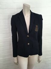 £1122 Ralph Lauren Navy Wool Beaded Logo Blazer Jacket UK 8 US 4