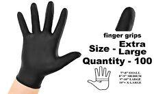100 x EXTRA LARGE Tough Black Nitrile Tatoo Mechanic Disposable Gloves Box