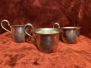 3  SILVER PUNCH _BABY CUPS Wm Rogers 357 gms No Mono cir 1800's
