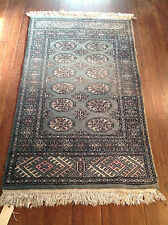 Handmade 3x5 Oriental  Rug Wool Foyer Size  Green Rose Gray Black Ivory