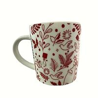 Starbucks Coffee Red White Holiday Coffee Mug Cup Dove Deer Christmas 099