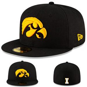 New Era Iowa Hawkeyes Black Fitted Hat College Official Team Logo Basic Cap