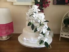 HAND MADE SUGAR ORCHIDS TRAILING TWO SPRAYS IN WHITE , ALSO IN COLOURS