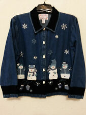 Tantrums Womens Jacket Size M - Blue Denim Jean Coat with Winter Snowmen Theme