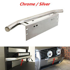 1x 23'' Chrome Bull Bar Front Bumper Working Lights License Plate Holder Braket