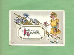 Lovely GIRL Holds Bouquet of ROSES On Beautiful Vintage Unused BIRTHDAY Postcard