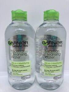 2 Garnier All in 1 Mattifying Miceller Cleansing Water for Oily Skin 13.5 oz