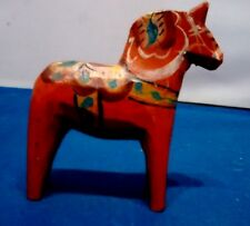 Vintage Small Swedish Dala Horse Handpainted Wooden Folk Art