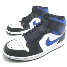 Nike Air Jordan 1 Mid White Black Game Royal Men's Basketball Shoes 554724-140