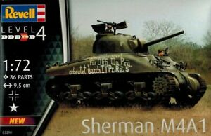 REVELL 1:72 KIT DA MONTARE CARRO ARMATO SHERMAN M4A1 LUNGHEZZA 9,5 CM  ART 03290