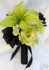 17pcs Wedding Bridal Bouquet Set Decoration Package Silk Flower BLACK GREEN lily