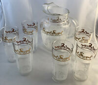 Vtg Pitcher, 6 Tumblers Amish PA Dutch Design White Gold, Anchor Hocking,EUC USA