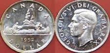 Brilliant Uncirculated 1952 Canada 4 Water Lines Silver 1 Dollar