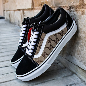 Vans Black Old Skool x Authentic GG Fabric Custom Handmade Shoes