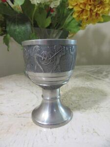 Vintage Zinn German Pewter wine cup. Roman soldiers battle