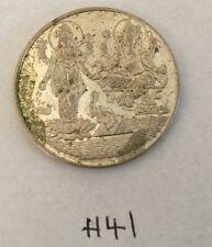 Om Goddess of wealth Lakshmi Ganesh Good Luck Coin Gift Token H41 Silver Plated