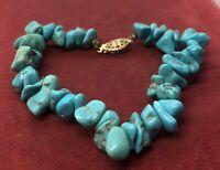 """Vintage Bracelet Gold Filled Clasp Turquoise 1/20 12k 7"""""""