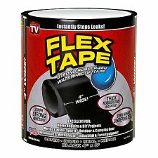 "Flex Tape Black 4"" x 5' Strong Ruberized Waterproof Tape NEW FREE SHIPPING"