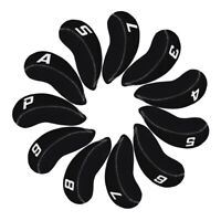11PCS Black Golf Plain Headcover Iron Cover Set For Cleveland Ping Mizuno Adams