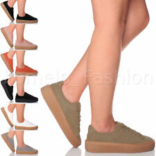 WOMENS LADIES CHUNKY FLATFORM PLATFORM LACE UP PUMPS TRAINERS CREEPERS SHOE SIZE