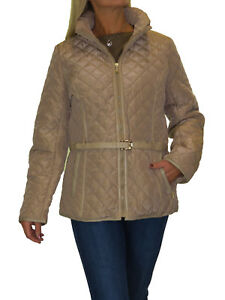 Womens Plus Size Quilted Jacket, Hood, Lightweight, With Belt Beige NEW 12-20