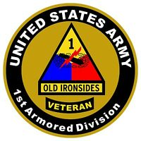 UNITED STATES Army Veteran 1st Armored Division Decal Window Bumper Sticker NEW
