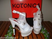 "KOTONICA ~ Sz 5 ~ RHINESTONE CROSS & SPIKES DESIGN 6"" PLATFORM HEELS NIB"