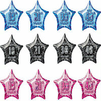 "13th-80th 20"" star aged foil birthday party balloons helium/air quality 3colours"