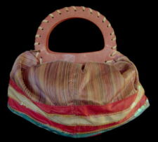 """LEATHER AND SILK  Handbag Funky Unusual """"Poof"""" Style Pastels"""