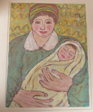 Original Mid Century Art Watercolor Painting MOTHER & CHILD Abstract Modern Art