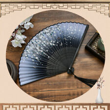 Chinese Spun Silk Flower Printing Hand Fan Folding Hollow Carved Party Suppl Lw